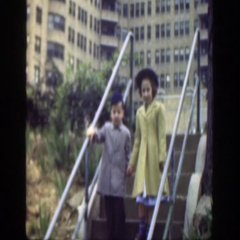 1949: girl and boy walking together CINCINNATTI OHIO Stock Footage