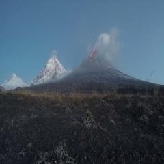 Morning view of Eruption Klyuchevskoy Volcano on Kamchatka (time lapse) Stock Footage