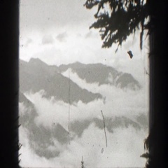 1938: nature scene overlooking snowy mountains. CALIFORNIA Stock Footage