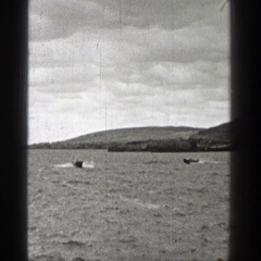 1938: motorboat traveling down the lake at a high speed. WASHINGTON Stock Footage