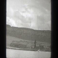1938: body boarding at the lake. WASHINGTON Stock Footage