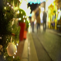 Happy people walking on decorated street on New Years Eve, holidays, relaxation Stock Footage