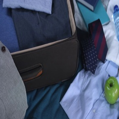 Businessman's Suitcase Ready for Business Trip Stock Footage