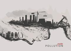 Artistic concept of environmental pollution by factories against nature Stock Illustration