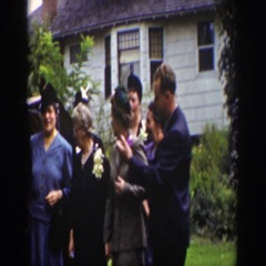 1939: people gathered outside building posing and talking WYOMING Stock Footage