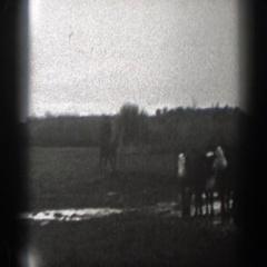 1939: man rides a warmblood horse across a muddy field MONTANA Stock Footage