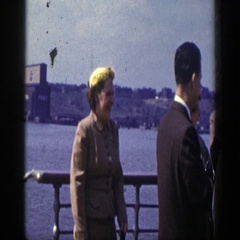 1948: people gathering together on a boat, socializing and having a nice time. Stock Footage