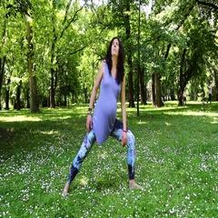 Prenatal yoga extended side angle pose Stock Footage