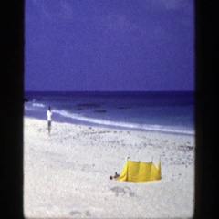 1948: couple visits the ocean shoreline. NEW YORK Stock Footage