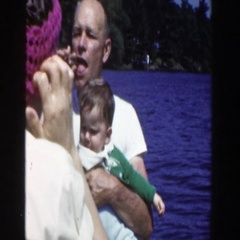 1953: family enjoying quality time out on the lake. WISCONSIN Stock Footage