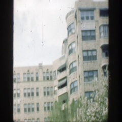 1949: view of a hotel building, accompanied by some geese by the lake. Stock Footage