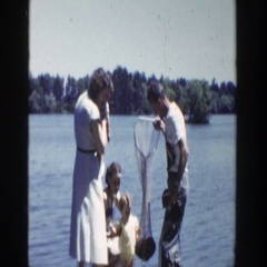 1953: fish in the net WISCONSIN Stock Footage