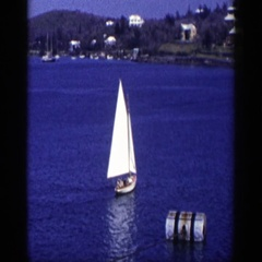 1948: lonely boat sailing on the lake. NEW YORK Stock Footage