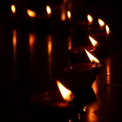 Candles and oil lamps (Deepak). Deepavali Stock Footage