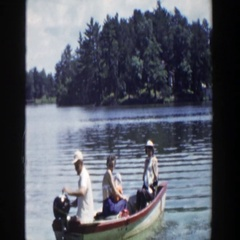 1953: people in a boat on the water moving fast. WISCONSIN Stock Footage