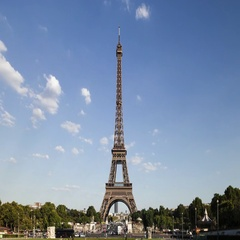 Eiffel Tower landmark silhouette from Trocadero in Paris. Time-lapse sequence Stock Footage