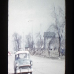 1956: viewing of a rural town with traffic on the side. GRAND RAPIDS MICHIGAN Stock Footage