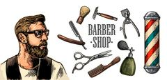 Head hipster and equipment for BarberShop Stock Illustration