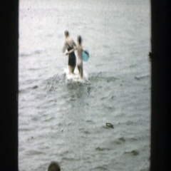 1957: family enjoying a day out by the lake. WISCONSIN Stock Footage
