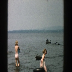 1957: family enjoying a day out by the deep lake. WISCONSIN Stock Footage