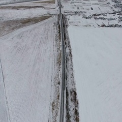 Aerial footage - empty railway in winter. View from above Stock Footage