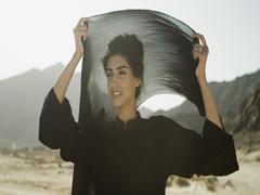 Arab woman wearing her hijab. Stock Footage