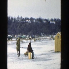 1957: a day out in the snow on a winter's day WISCONSIN Stock Footage
