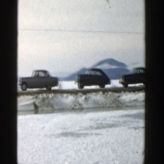 1957: cars and people stalled on winter highway. WISCONSIN Stock Footage