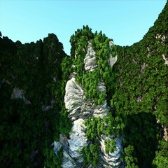 Mountain Cliffs with trees. Aerial Camera footage. Fantasy landscape. Stock Footage