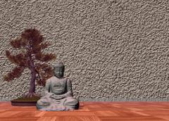 Buddha in a room - 3D render Stock Illustration