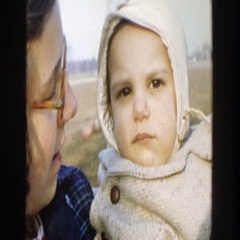 1958: woman with child posing for camera outdoor MICHIGAN Stock Footage