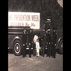 Vintage 16mm film, 1967, Smoky the bear and Fire truck Stock Footage