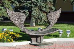 Khimki, Russia-September 03. 2016. Sculpture - bench of reconciliation in the Stock Photos