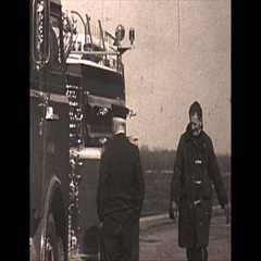 Vintage 16mm film, 1967, Fire truck at dock Stock Footage