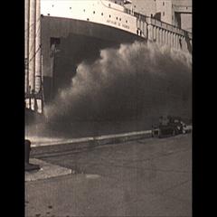 Vintage 16mm film, 1967, Fire truck at dock practice, laker Arthur B Homer Stock Footage