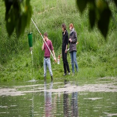 Biologists collecting water samples Stock Footage