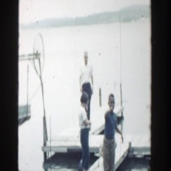 1964: a family going fishing at the dock WISCONSIN Stock Footage