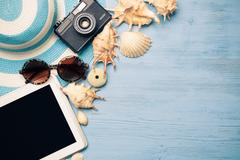 Summer objects for vacation Stock Photos