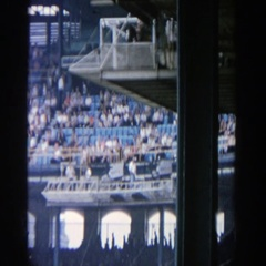 1964: a huge stadium like area people sitting YANKEE STADIUM NEW YORK Stock Footage
