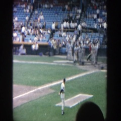 1964: baseball players playing a game. YANKEE STADIUM NEW YORK Stock Footage