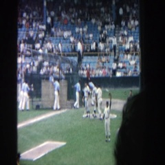 1964: baseball players and audience gearing up for the big game YANKEE STADIUM Stock Footage