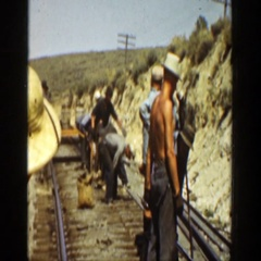 1936: a group of men build railroad CALIFORNIA Stock Footage