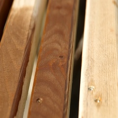 Wood painting with a brush with the brown color Stock Footage