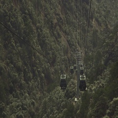 Aerial of overhead cable cars at green forest Stock Footage
