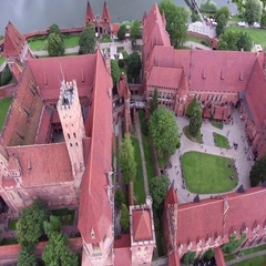 Old huge castle on river Stock Footage