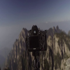 Picture of mountain range photographed from camera Stock Footage