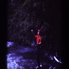 1939: a man in red going fishing at the river CHELAN WASHINGTON Stock Footage