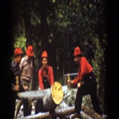 1939: group of people outside doing work while also drinking CHELAN WASHINGTON Stock Footage