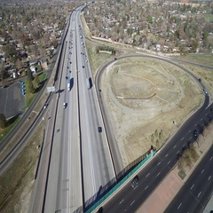 Aerial view of interstate freeway exchange in large city. COLORADO Arkistovideo