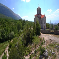 Church near the Cetina water source spring in Croatia Stock Footage